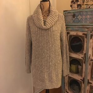 Zara Knit Beige Cowl Neck Tunic Sweater S